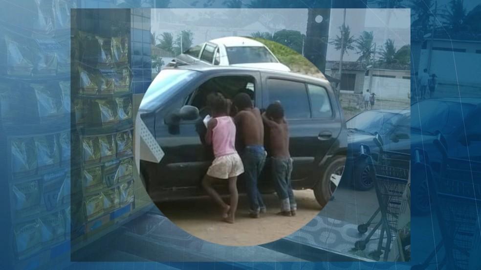 Crianças que dormiam embaixo de ônibus aparecem em fotos do dia do acidente em Mamanguape, na Paraíba (Foto: Reprodução/TV Cabo Branco)