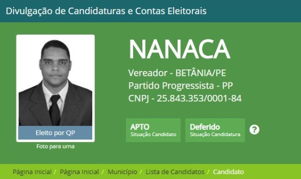 """Vereador """"Nanaca"""", de Betânia (PE) está entre os suspeitos mortos durante troca de tiros com a polícia no Agreste da PB — Foto: Reprodução/TSE"""