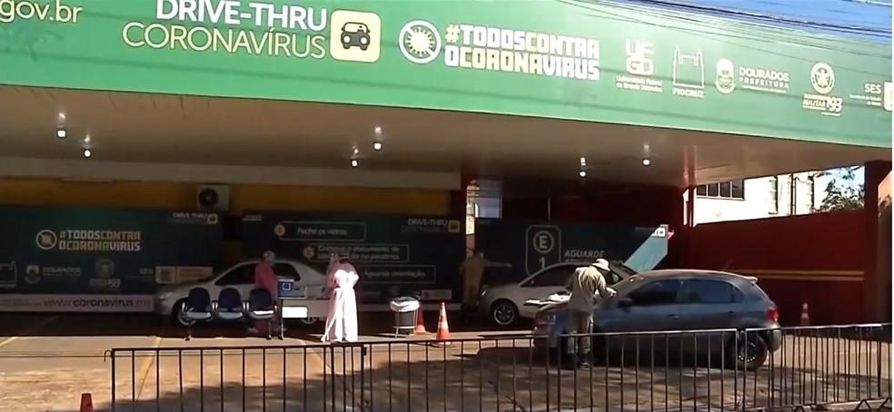 Drive-Thru de testes rápidos de coronavírus em Dourados (MS) — Foto: TV Morena/Reprodução