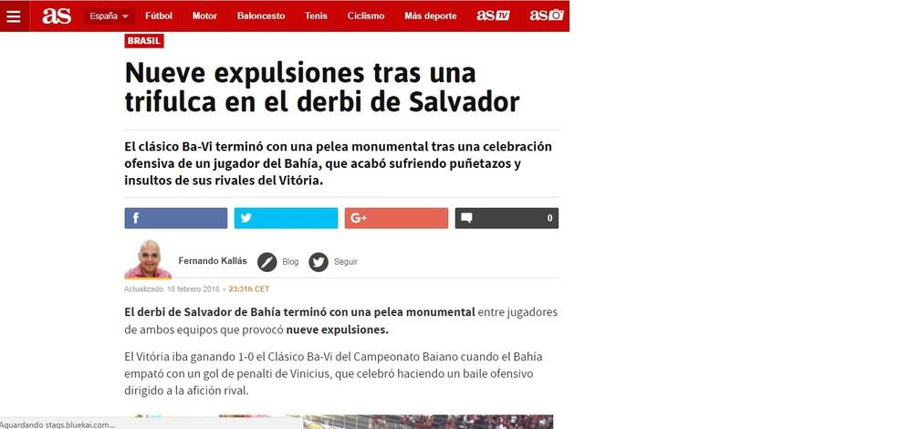 """Na Espanha, o AS divulgou que o clássico terminou """"com uma briga monumental"""" (Foto: Reprodução)"""