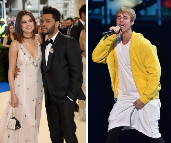 Selena Gomez com The Weeknd e o cantor Justin Bieber (Foto: Getty Images)