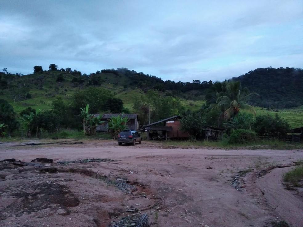 Sítio onde ocorreu o crime em Ministro Andreazza — Foto: Polícia Civil/Divulgação