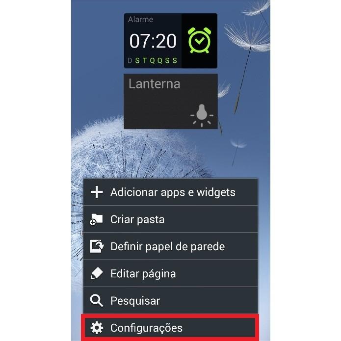 Atalho para as configurações do smartphone Android (Foto: Reprodução/Lívia Dâmaso)