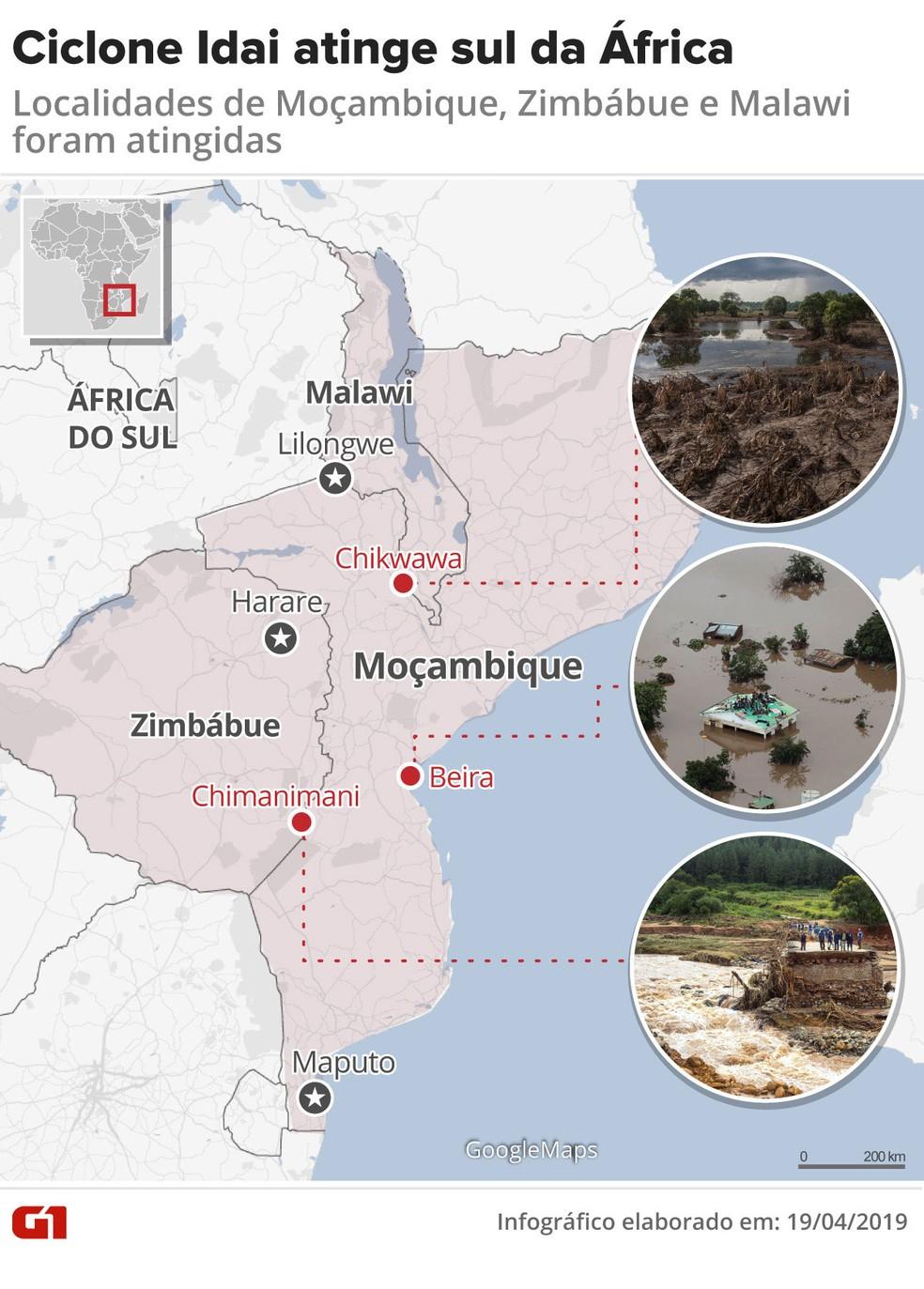 Ciclone Idai atingiu Moçambique, Zimbábue e Malawi — Foto: Karina Almeida/G1