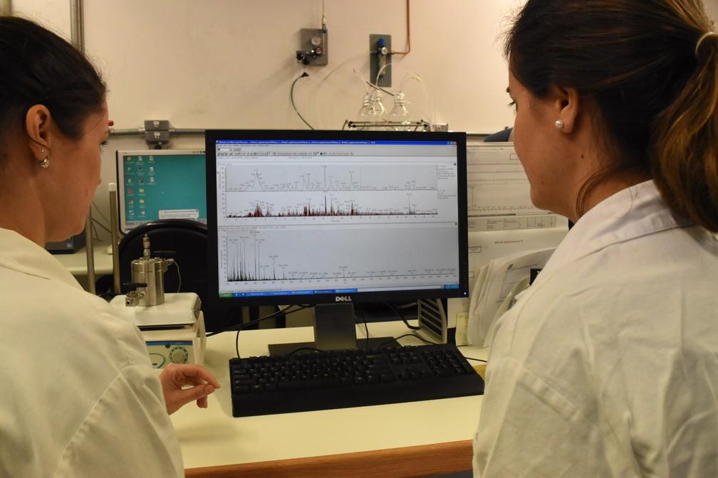 Pesquisadoras do Laboratório Nacional de Biociências (LNBio) usaram espectrometria de massas para identificar proteínas — Foto: Fernando Evans/G1