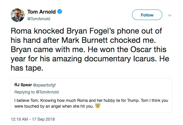O ator Tom Arnold rebatendo as acusações da esposa do produtor que ele diz tê-lo agredido (Foto: Twitter)