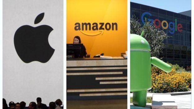 """A Apple, o Amazon e a """"empresa-mãe"""" do Google disputaram por meses qual delas se tornaria a empresa de trilhões de dólares (Foto: BBC News)"""