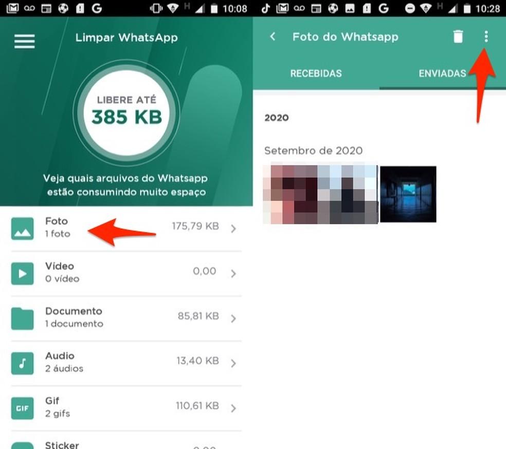 O app LimpaZap agrupa os tipos de arquivos recebidos no WhatsApp para deletar com mais rapidez e liberar memória do celular — Foto: Reprodução/Marvin Costa