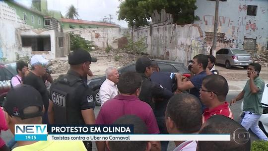 Tumultos marcam protesto de taxistas contra aplicativos de transporte particular em Olinda