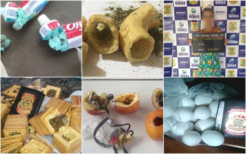 Drogas e objetos foram encontrados nas partes íntimas e em alimentos, em Goiás (Foto: DGAP/Divulgação)