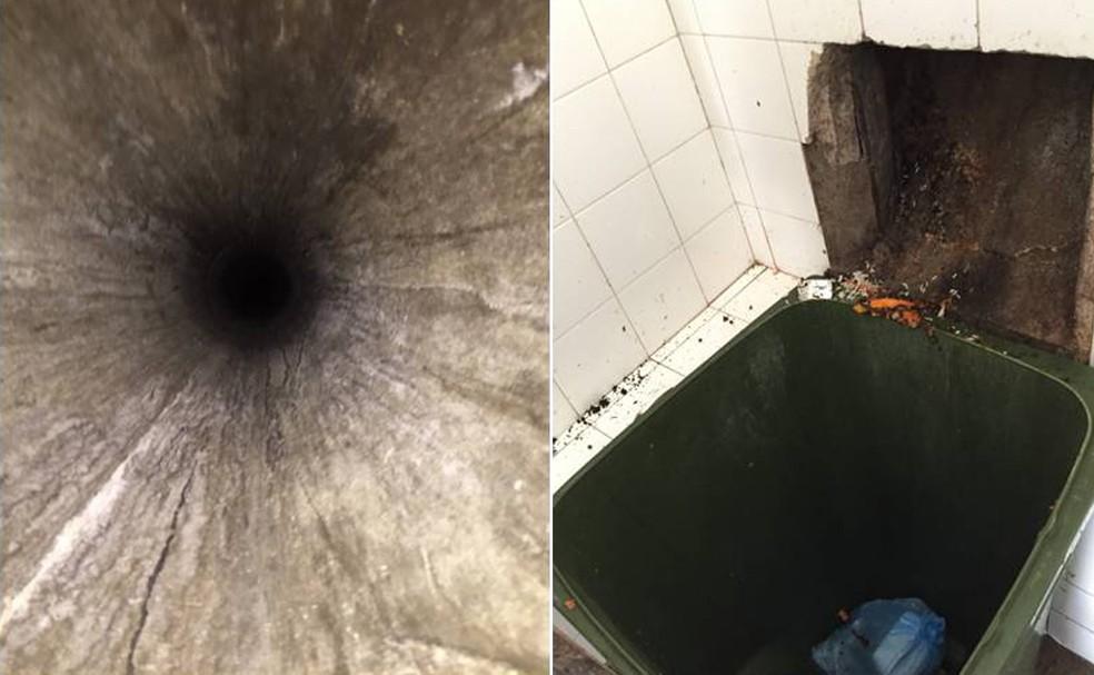 Criança foi lançada em fosso (esq.) e caiu em lixeira 6 andares abaixo (dir.) (Foto: Divulgação/Polícia Civil)