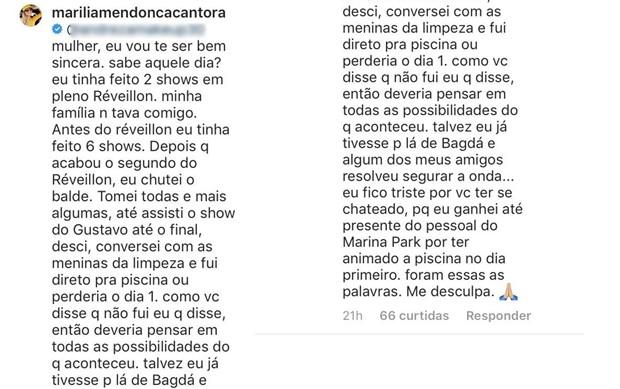 Resposta de Marília Mendonça (Foto: Reprodução/Instagram)