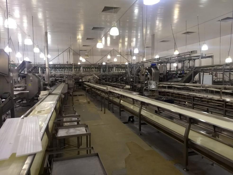 A Coopavel, em Cascavel, dispensou nesta quarta-feira 2,4 mil funcionários; cooperativa é responsável pelo abate de 220 mil frangos por dia (Foto: Cícero Bittencourt/RPC)