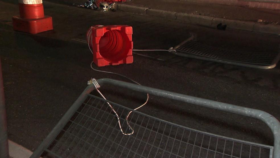 Fio de nylon na Ponte Vila Maria â?? Foto: Reprodução/TV Globo