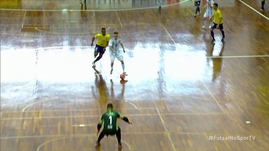 Os gols de Brasil 4 x 4 Argentina pelo amistoso internacional de futsal