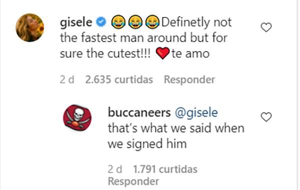 Gisele Bündchen e a conta oficial do Tampa Bay Buccaneers reagiram ao vídeo de Tom Brady (Foto: Reprodução / Instagram)