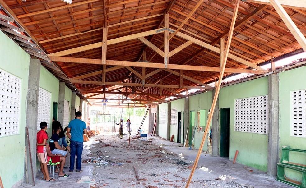 Escola cujo teto desabou passava por reforma, em Banabuiú, no Ceará. — Foto: Divulgação/Prefeitura Municipal de Banabuiú