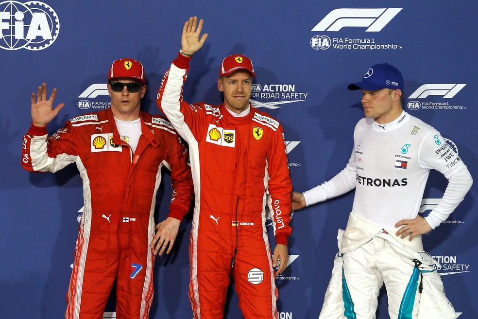 Raikkonen, Vettel e Bottas, os três primeiros do grid no Barein (Foto: Reuters)