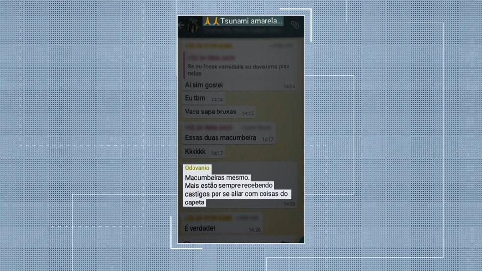 No grupo do WhatsApp, secretário municipal faz comentários ofensivos às vereadoras — Foto: Reprodução/TV Integração