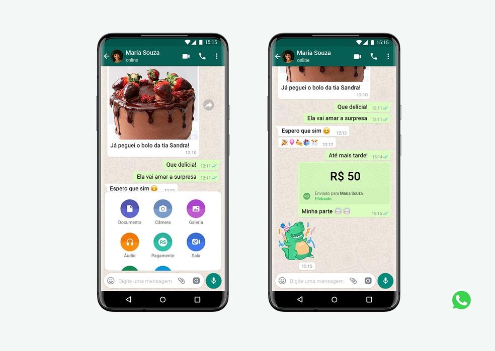 Pagamentos no WhatsApp estão disponíveis a partir do campo de mensagens. — Foto: Divulgação/WhatsApp