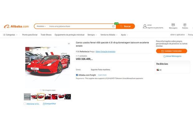 Um exemplo dos carros de luxo usados, vendido pela empresa Alibaba, gigante do e-commerce na Ásia (Foto: Site Alibaba)