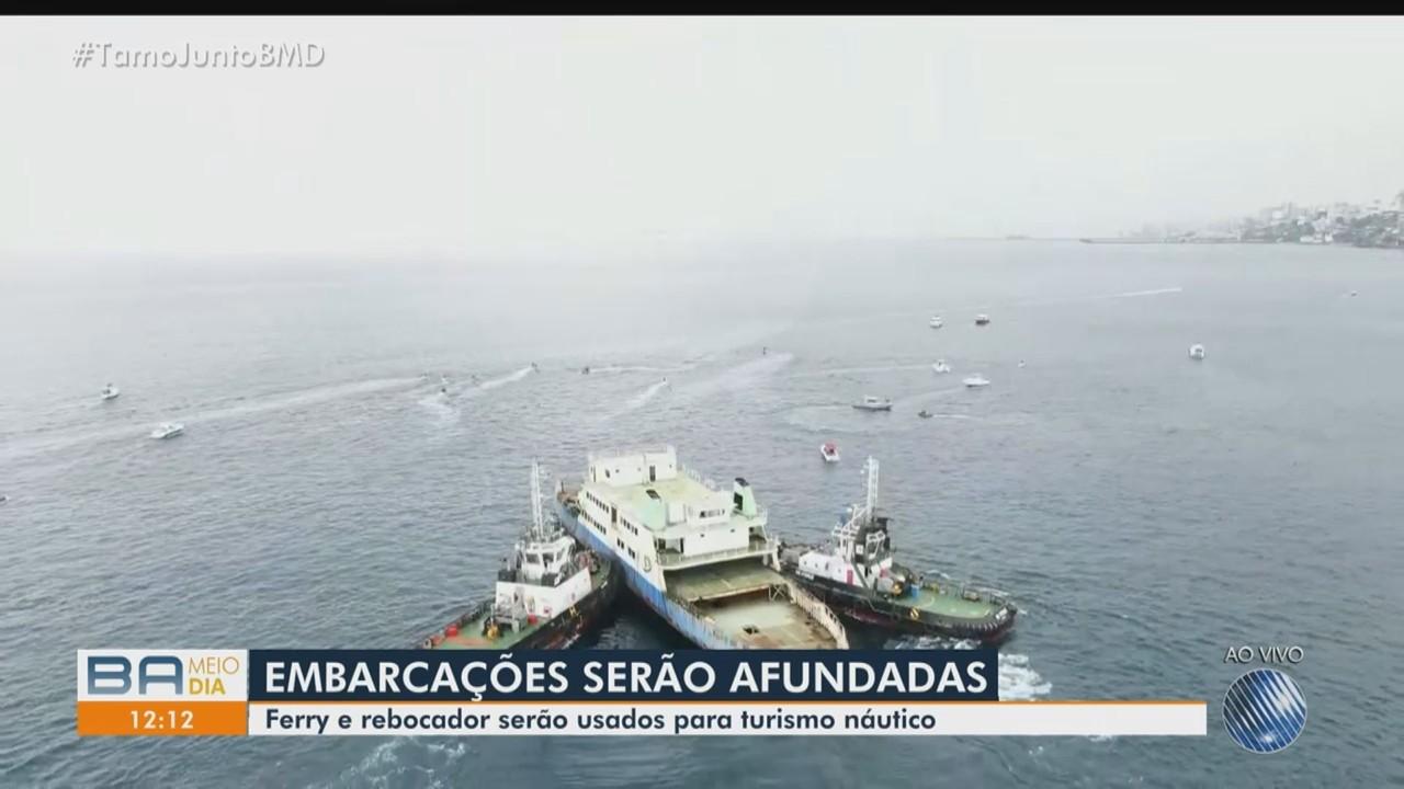 Afundamento de ferry e rebocador é realizado na Baía de Todos os Santos