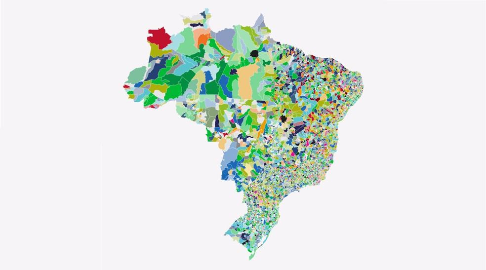Mapa mostra resultados em cada cidade e partidos mais votados — Foto: G1