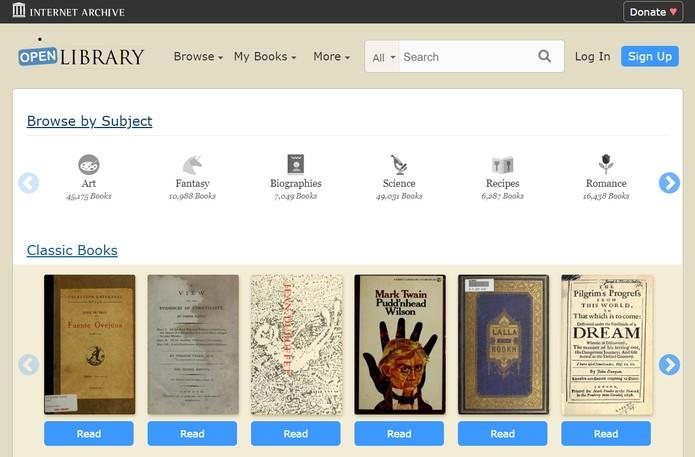 OpenLibrary cataloga milhares de livros em vários idiomas (Foto: Reprodução/Open Library)