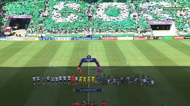 Corinthians e Palmeiras perfilados para o Hino Nacional