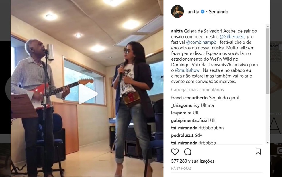 Anitta  fez ensaio com Gil antes de show no domingo (3) (Foto: Reprodução/ Instagram)