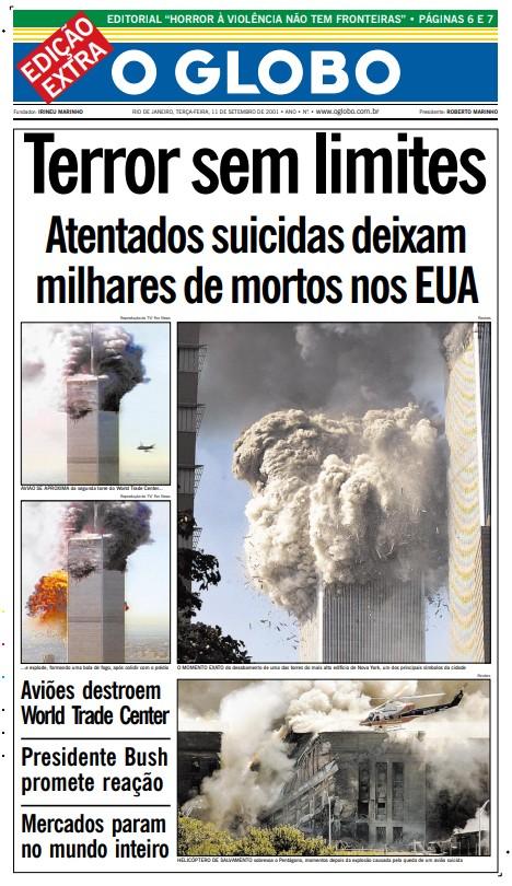 Capa da edição extra do GLOBO, publicada na tarde de 11 de setembro de 2001