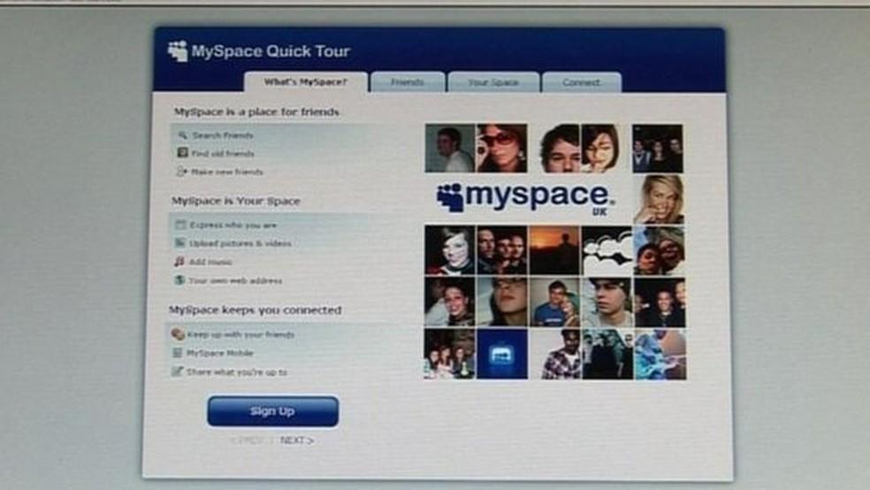 Uma das primeiras redes sociais, o MySpace perdeu cerca de 12 anos de dados dos usuários, entre músicas e contas. — Foto: BBC