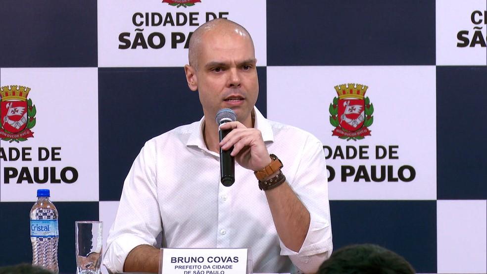 O prefeito de São Paulo, Bruno Covas (PSDB), durante coletiva de imprensa na capital paulista. — Foto: Reprodução/TV Globo