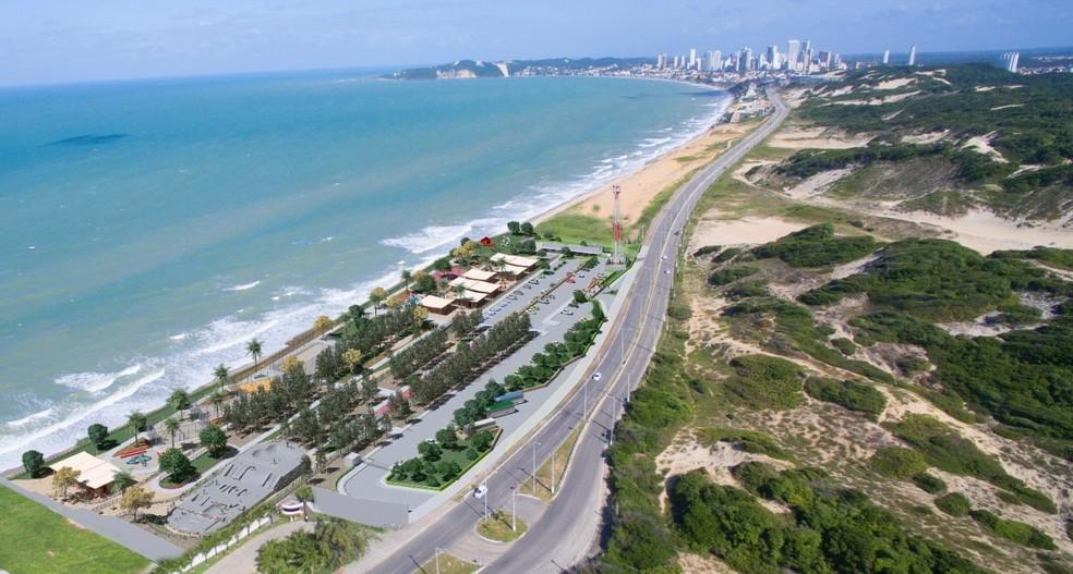 Imagem mostra projeção de parque que deverá ser construído na Via Costeira em Natal. — Foto: Divulgação