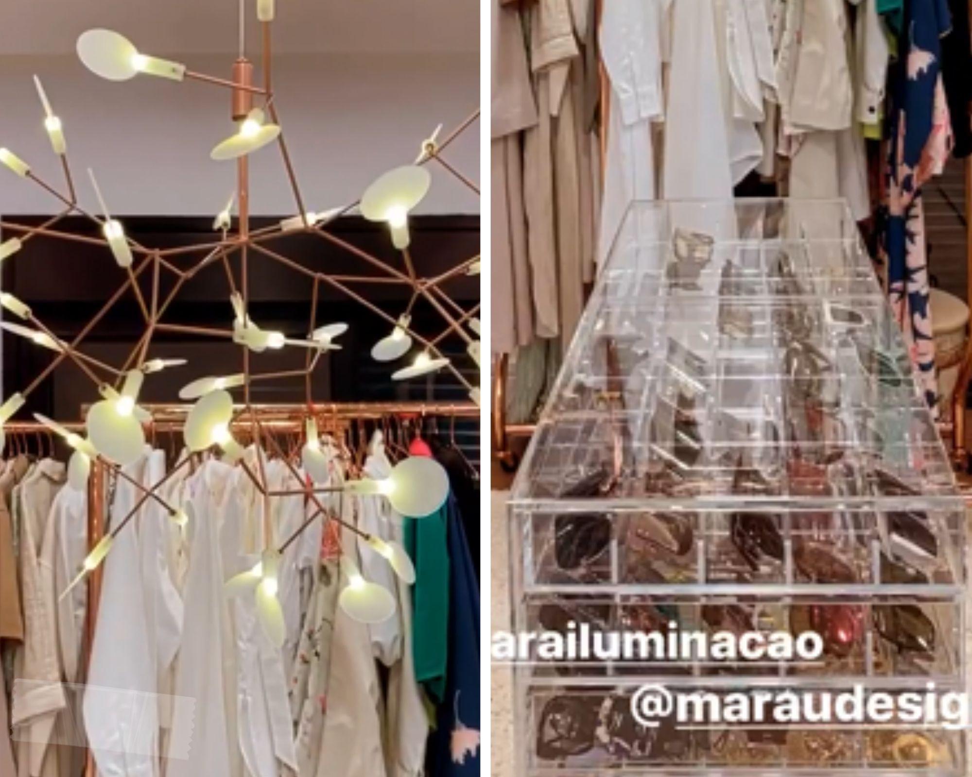 Lustre minimalista e coleção de óculos escuros chamam atenção em closet de Simaria (Foto: Reprodução/Instagram)