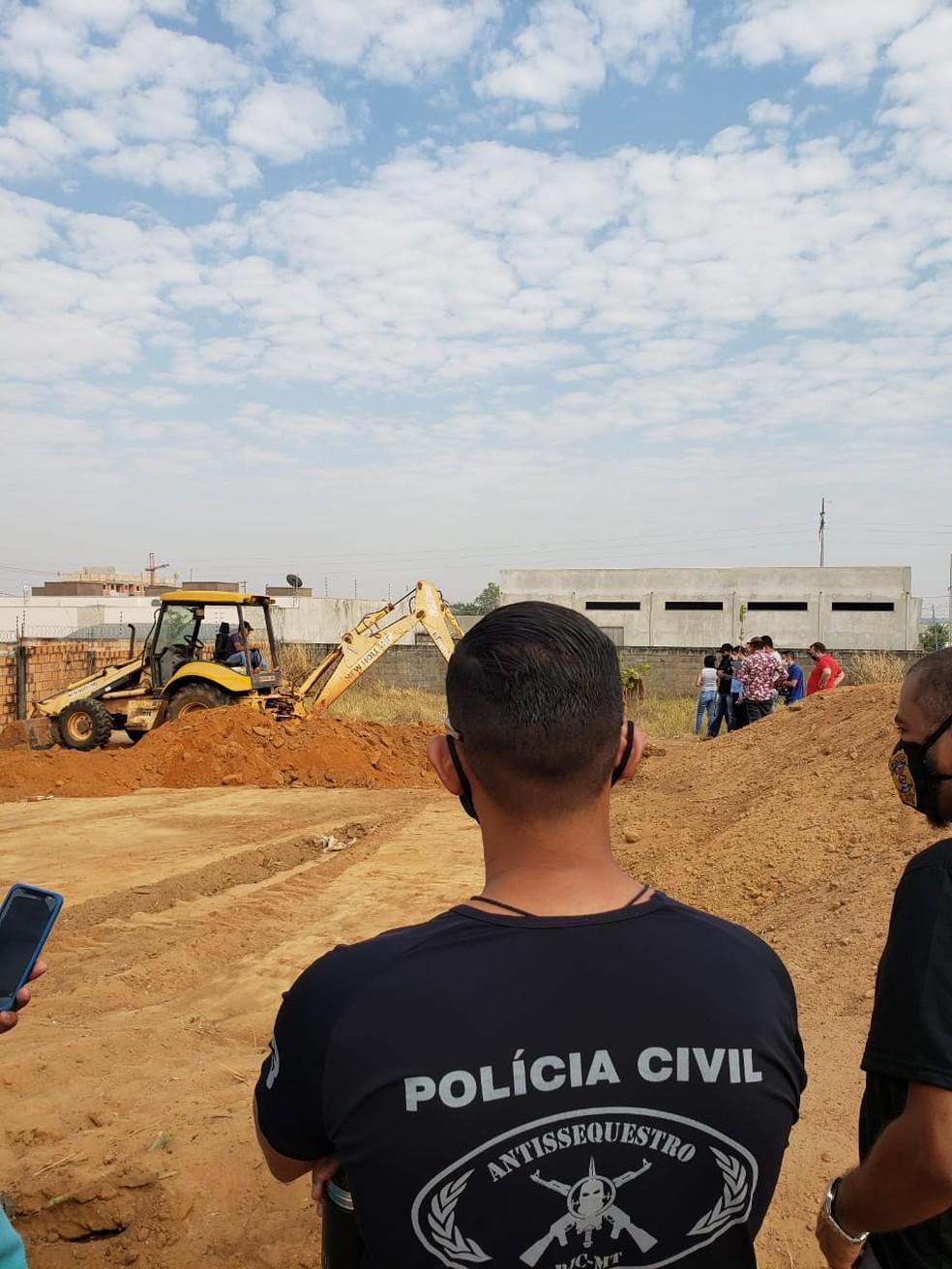 Polícia Civil de Sorriso faz escavações para localizar os restos mortais de Sara Vitória Fogaça Paim — Foto: Polícia Civil de Sorriso