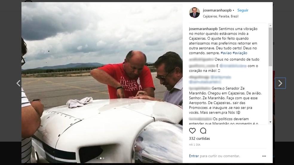 José Maranhão (MDB-PB) comentou sobre suspeita de pane em avião nas redes sociais (Foto: Reprodução/Instagram/josemaranhaopb)