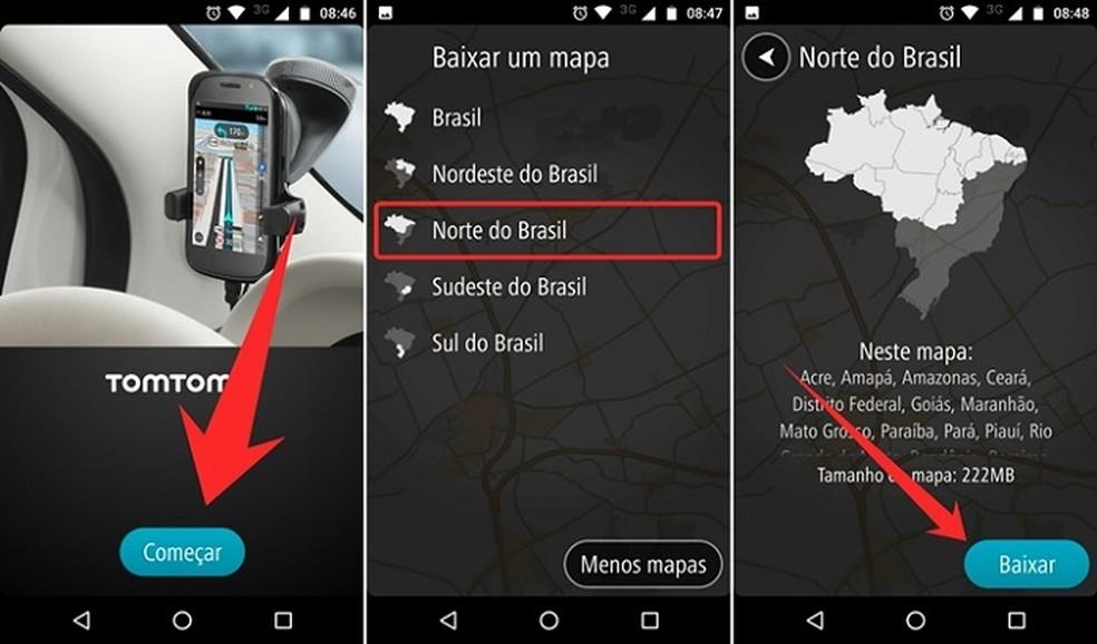 Escolha a região do país para fazer download no TomTom GO Brasil (Foto: Reprodução/Felipe Alencar )