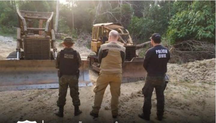 Operação 'Amazônia Viva' apreende tratores, armas e motosserras em Senador José Porfírio
