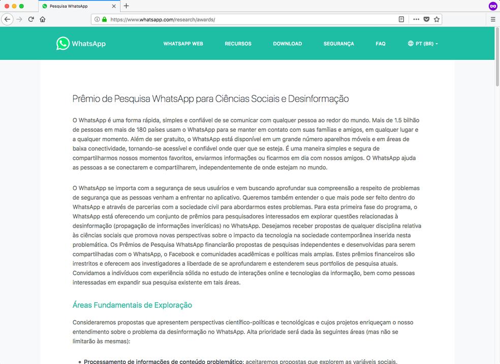Site oficial do WhatsApp cita desinformação como alvo das pesquisas científicas — Foto: Reprodução/TechTudo