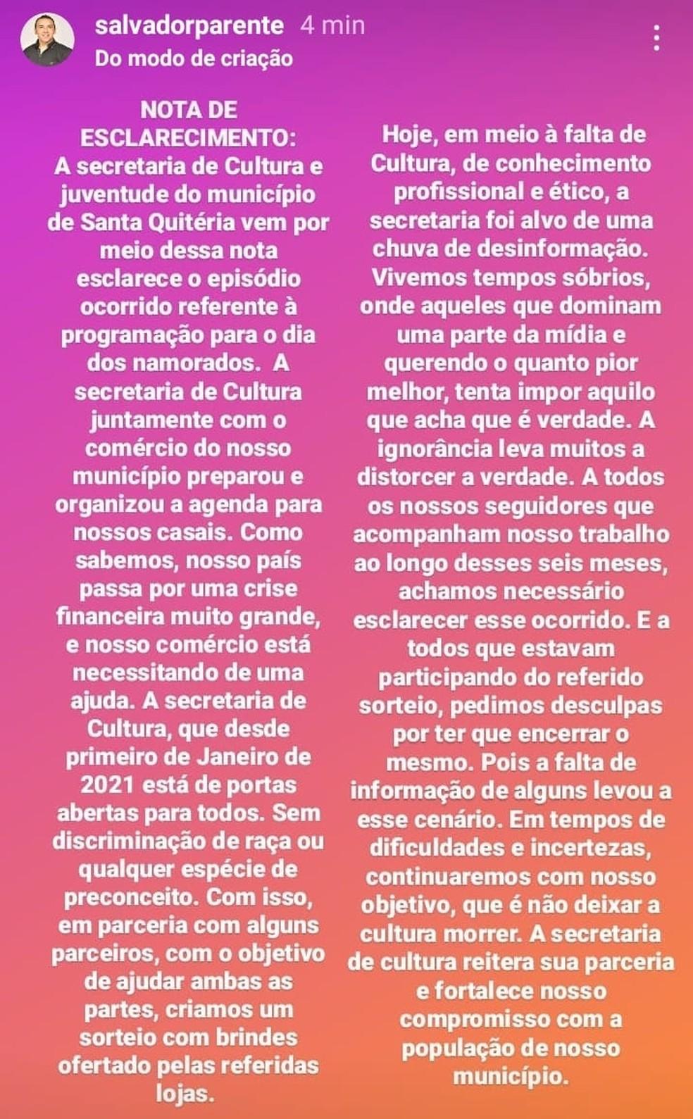 Secretário de Cultura da cidade de Santa Quitéria, Salvador Parente, divulga nota de esclarecimento após polêmica com sorteio. — Foto: Instagram/ Reprdução