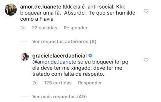 Graciele Lacerda responde internauta  (Foto: Reprodução/Instagram)