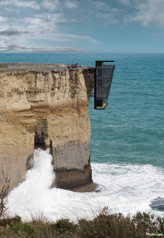 Fotomontagem do projeto mostra a casa, com vista deslumbrante para o oceano. (Foto: Modscape)