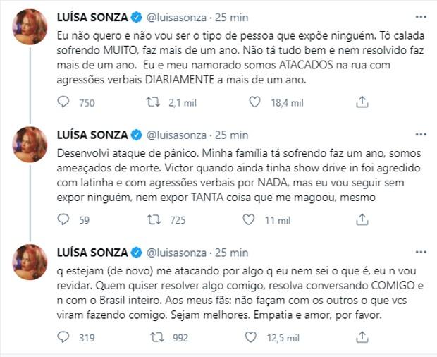 Luísa Sonza desabafa sobre ataques contra ela e Vitão (Foto: Reprodução/Twitter)