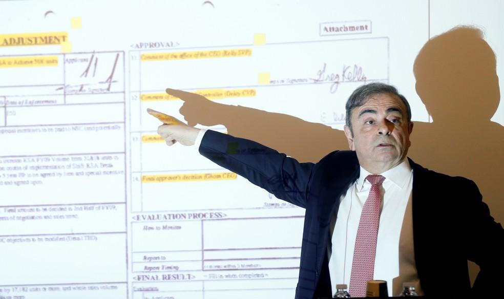 Ghosn explica as acusações de que é alvo pela justiça japonesa — Foto: Mohamed Azakir/Reuters