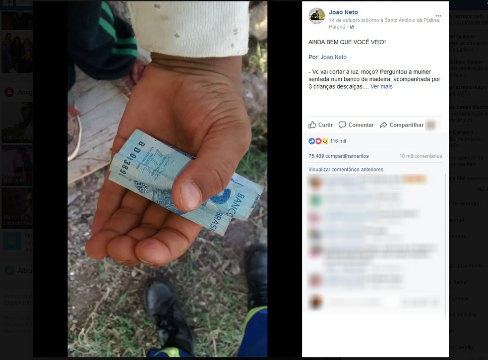 Eletricista João Neto compartilhou a história de Alessandro em outubro do ano passado o e viralizou nas redes sociais (Foto: Rede Globo/Reprodução)