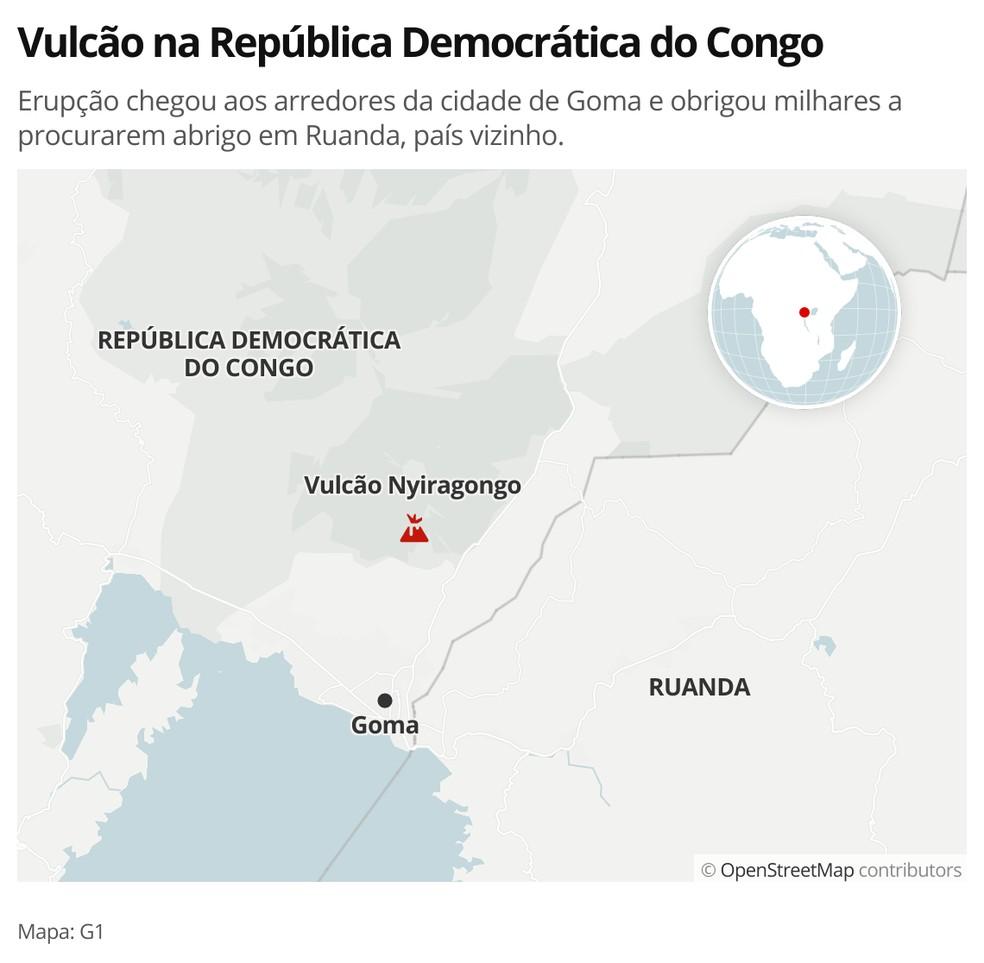 Vulcão na República Democrática do Congo — Foto: G1 Mundo