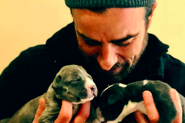 O ator Justin Theroux com dois filhotinhos em suas mãos (Foto: Instagram)