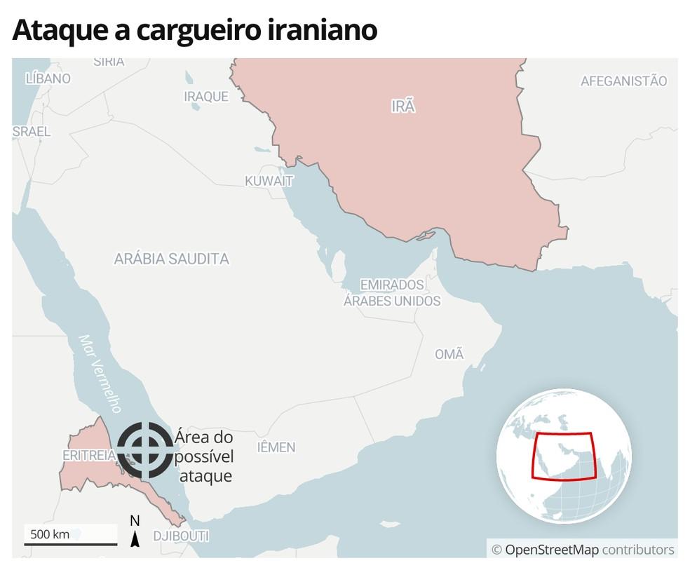 Ataque a cargueiro iraniano — Foto: G1 Mundo
