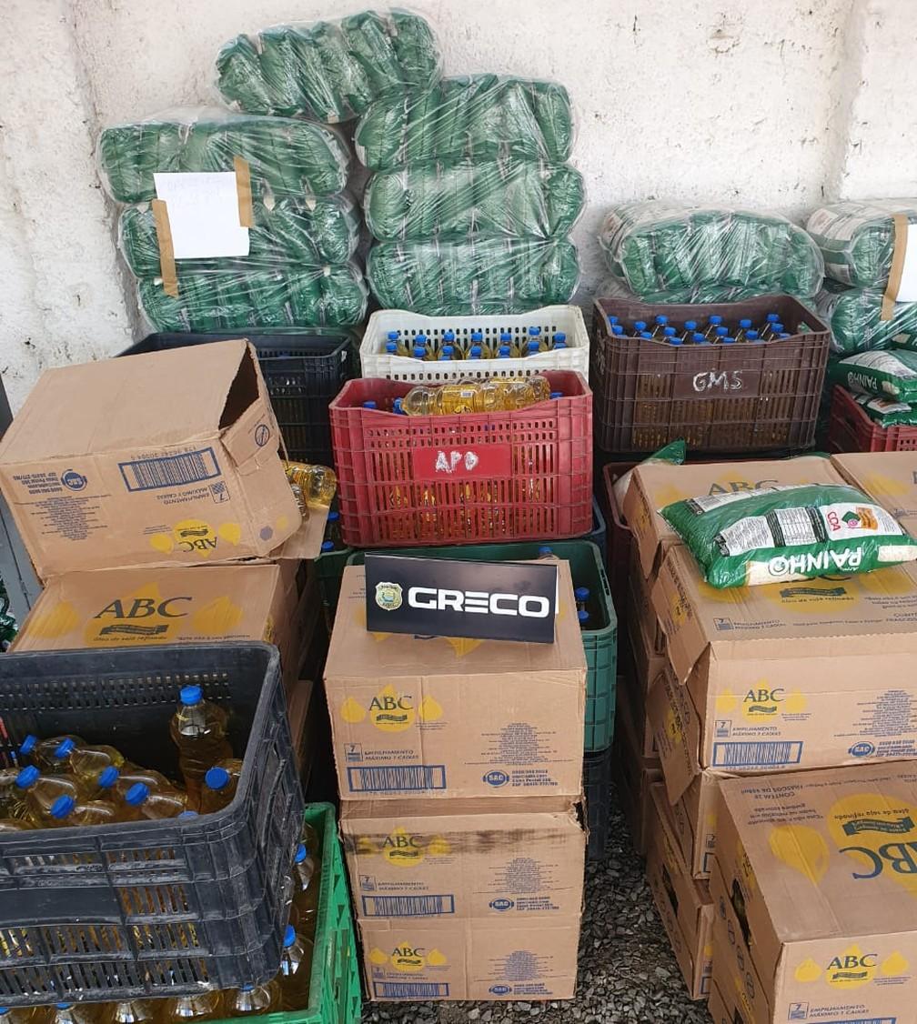Cargas roubadas de arroz, óleo e feijão foram apreendidas pela Polícia Civil em Teresina — Foto: Polícia Civil/ Greco